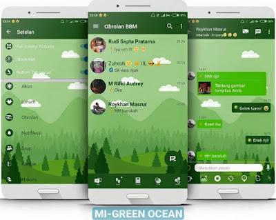 BBM Mod Mi-Green Ocean Versi Terbaru For Android - Tema Natural