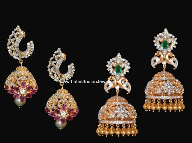 Stylish Jhumkas in Diamonds