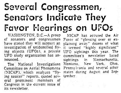 Congressmen, Senators Favor Hearing On UFOs - USA News Report 1973