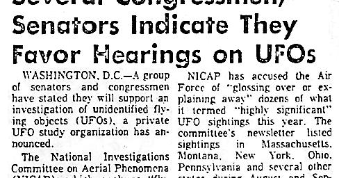 Congressmen, Senators Favor Hearing On UFOs | UFO CHRONICLE – 1973