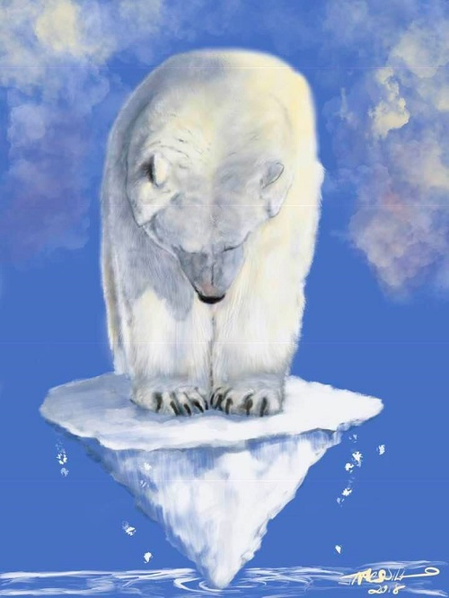 Polar Bear on Ice Cone (Credit: facebook.com/CleanAirCartoons) Click to Enlarge.