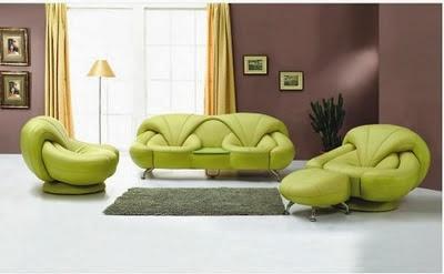 sala marrón con verde
