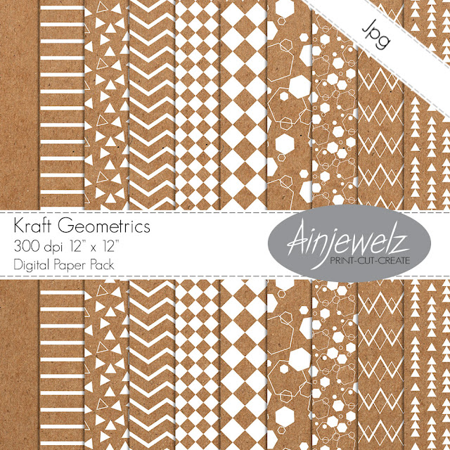 kraft digital paper pack