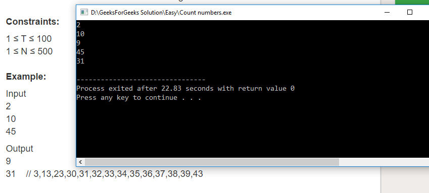 """Geeksforgeeks Solution For """" Count numbers """" In C"""