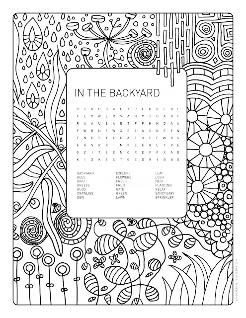 weelife: Word Search Colouring Page: In The Backyard