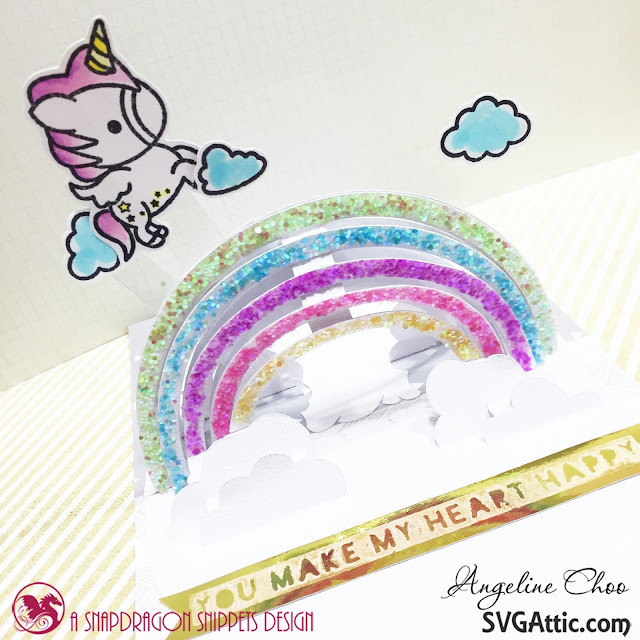 ScrappyScrappy: Rainbow unicorn card #scrappyscrappy #svgattic #svg #cutfile #diecut #papercraft #card #cardmaking #coloring #stamping  #stamp #unitystampco #sweetstampshop #wowglitter #unicorn #rainbow
