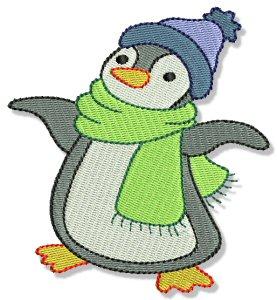 Imágenes Bordadas de Pingüinos para Navidad.