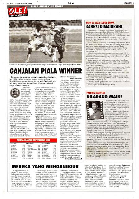 UEFA WINNER CUP 1998 FOOTBALL NEWS