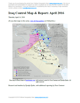 Detailed map of territorial control in Iraq's ongoing war as of April 14, 2016, including territory held by the so-called Islamic State (ISIS, ISIL), the Baghdad government, and the Kurdistan Peshmerga. Includes recent flashpoints including Ramadi, Hit, Bashir, and more.