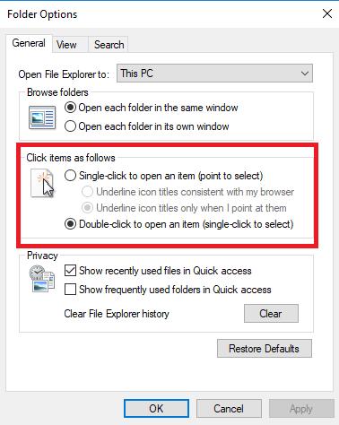 كيفية فتح الملفات / المجلدات بنقرة واحدة فقط في ويندوز