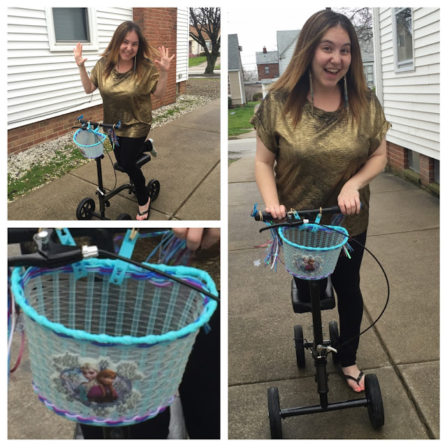 Beautifying the Broken Ankle, my broken ankle journey, breaking your ankle, Jamie Allison Sanders, Frozen, Anna and Elsa, Frozen bicycle basket, knee scooter, knee walker