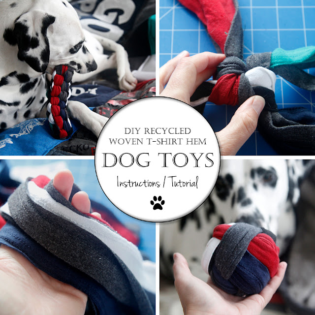 Dalmatian dog with homemade recycled t-shirt fabric dog toys