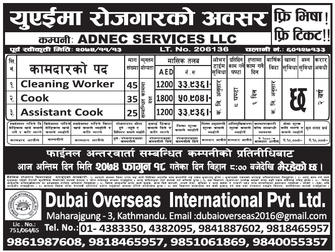 Free Visa Free Ticket Jobs in UAE for Nepali Salary Rs 50,904