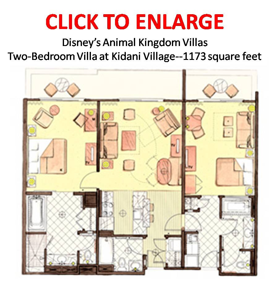 Two magical moms disney 39 s animal kingdom lodge kidani village review for Animal kingdom 2 bedroom villa floor plan