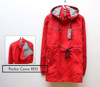Jaket Parka Cewe Merah