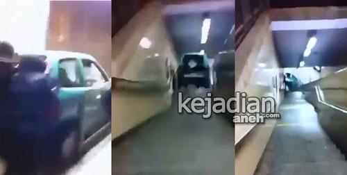 Mobil Dijatuhkan dari Tangga Eskalator