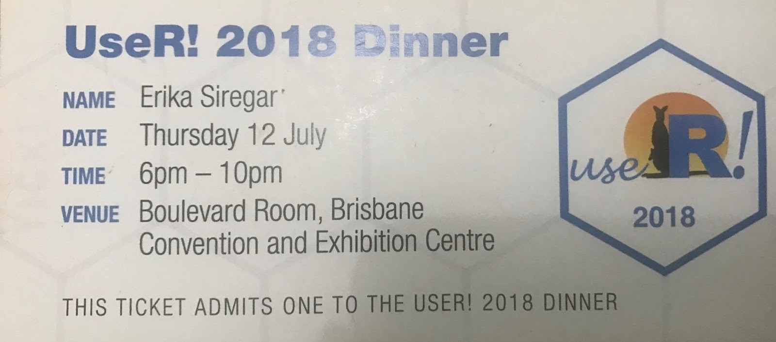 the conference dinner ticket