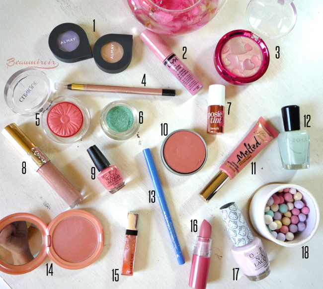 My selection of makeup products for spring for eyes, lips, cheeks and nails