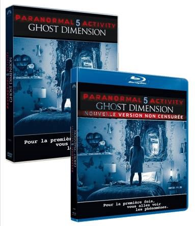 Paranormal Activity 5 : Ghost Dimension - Packages Bluray 3D, Bluray et DVD