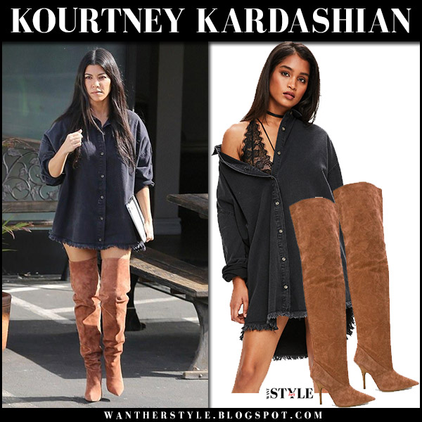 Kourtney Kardashian in black denim shirt missguided and brown suede boots yeezy street fashion november 17 2017