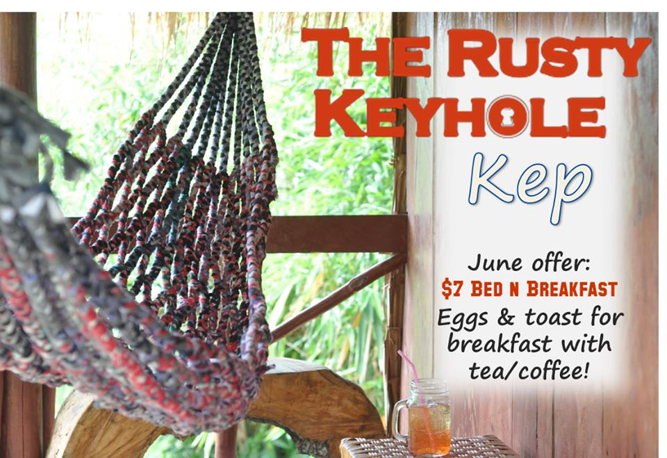 Our Fave budget place in Kep. Rusty Keyhole Kep, guest house restuarant bar. Home of Rusty BBQ Ribs