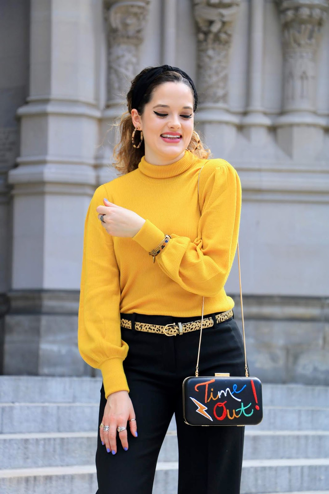 Nyc fashion blogger Kathleen Harper wearing a yellow turtleneck from Jcrew