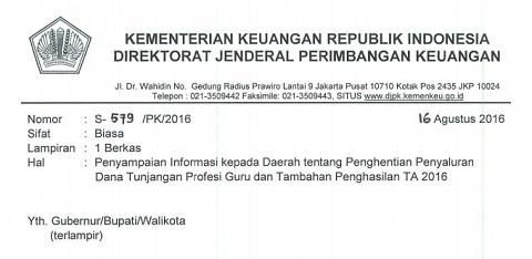 Surat Kemenkeu Tentang Penyampaian Informasi Kepada Daerah Tentang Penghentian Penyaluran Dana TPG dan DTP Guru TA 2016