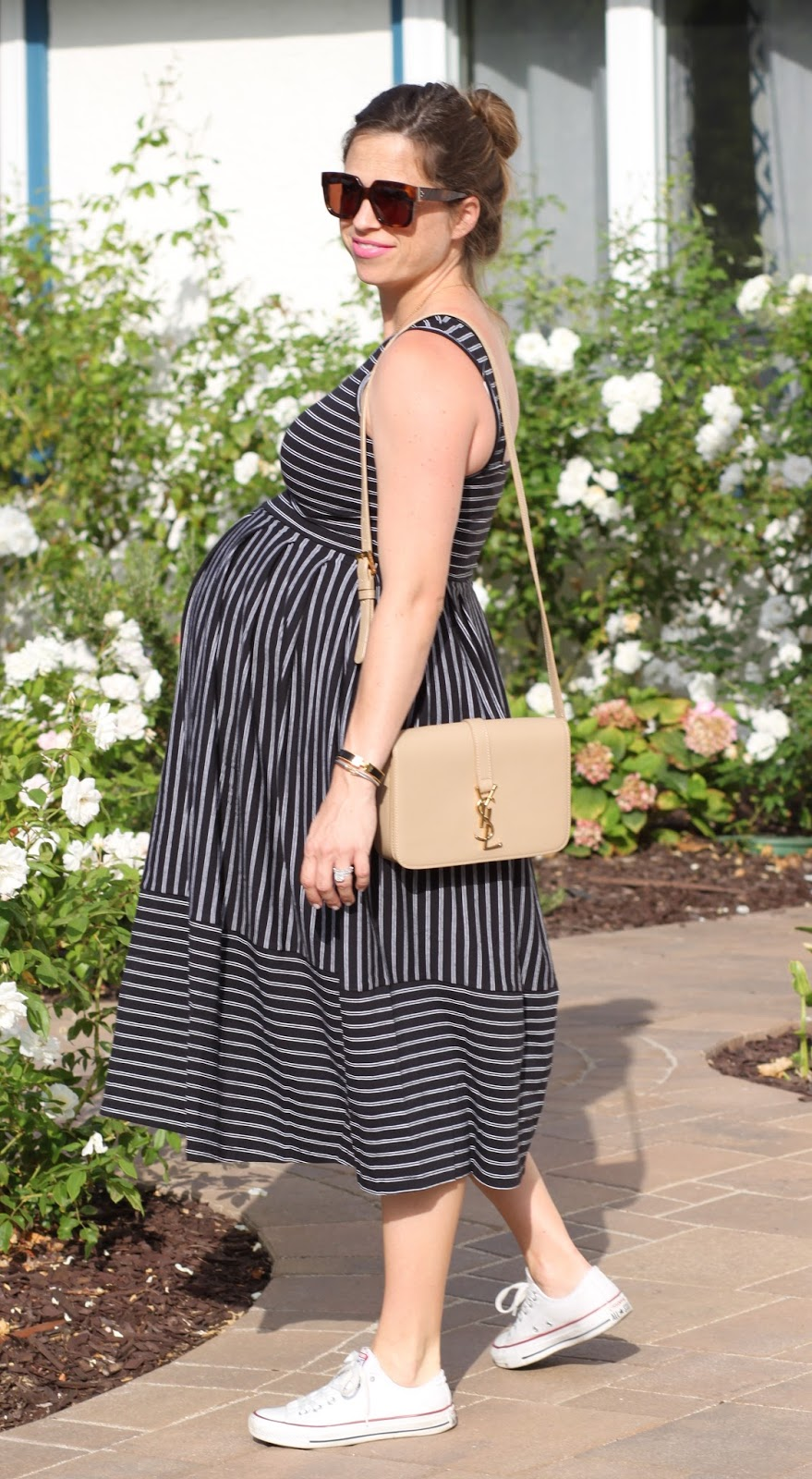 striped maternity dress and sneakers
