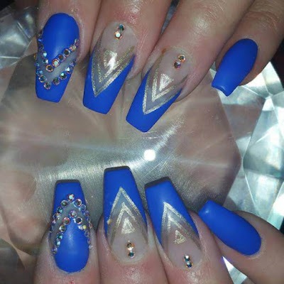 Floral Blue, Mylar Nails Art Ideas