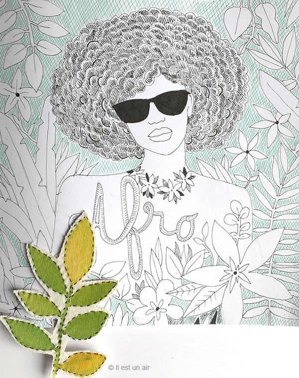 dessin au feutre mode afro