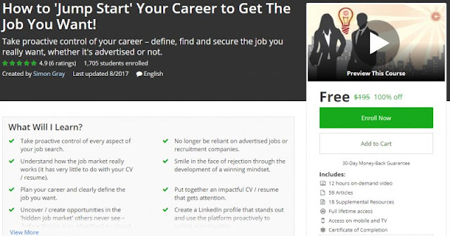 [100% Off] How to 'Jump Start' Your Career to Get The Job You Want!| Worth 195$