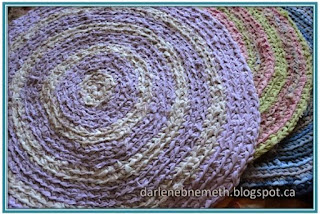 crocheted round rag rug.