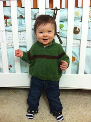 My Little Neighbor in His Handknit Sweater