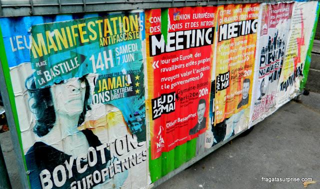 Paris: cartazes convocando manifestações contra a extrema-direita