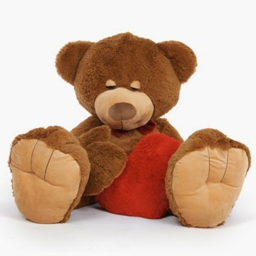 Chester Mittens Is 4 1/2 Feet of snoozy bear with a red heart - he's also designed to be a body pillow!