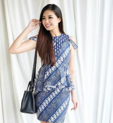 Gaun batik tanpa lengan rok pendek untuk wanita muda