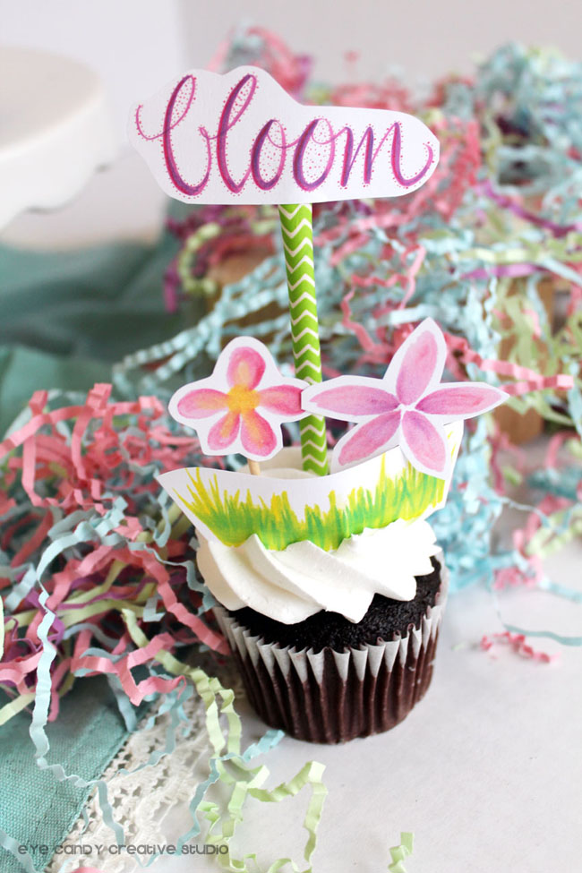 floral cupcake toppers, watercolor, bloom, hand lettering, flower cupcakes