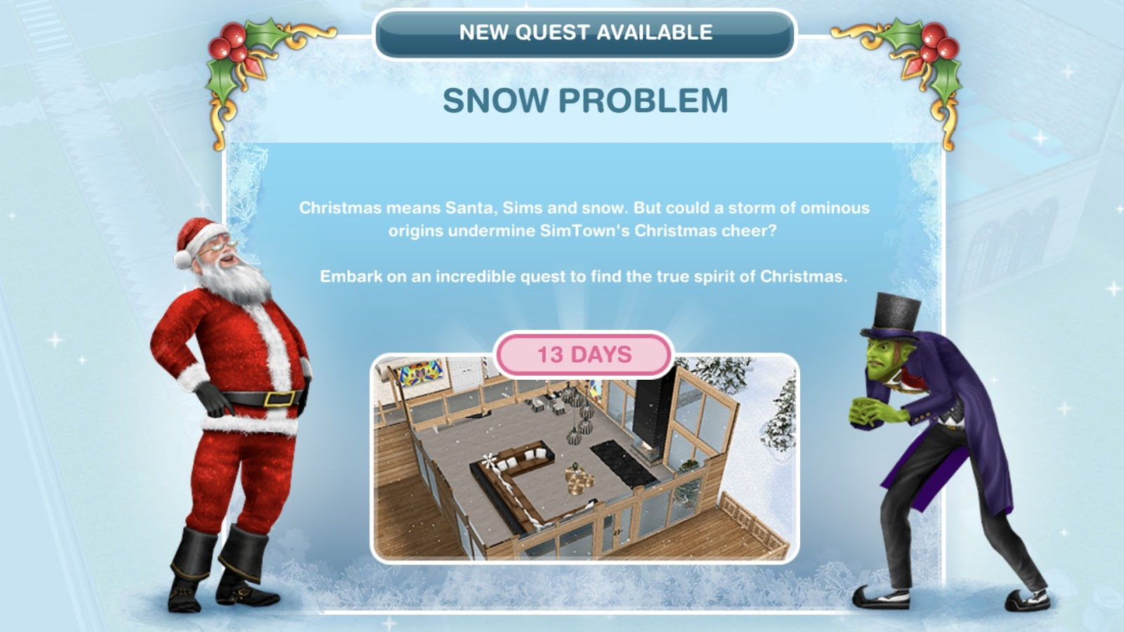 Simsfreeplay Sims Freeplay Snow Problem Quest Day 1