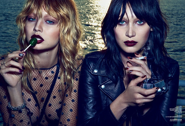 Gigi and Bella Hadid wear lingerie for the V Magazine Fall 2015