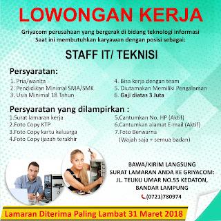 Loker Lampung Terbaru di GRIYACOM BANDAR LAMPUNG Maret 2018