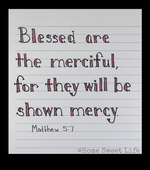 Scripture Writing, hand lettering, Matthew 5:7, Holy Week