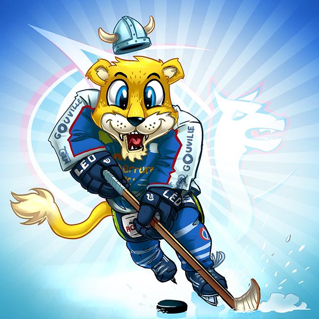design de la mascotte des drakkars - équipe de hockey de Caen