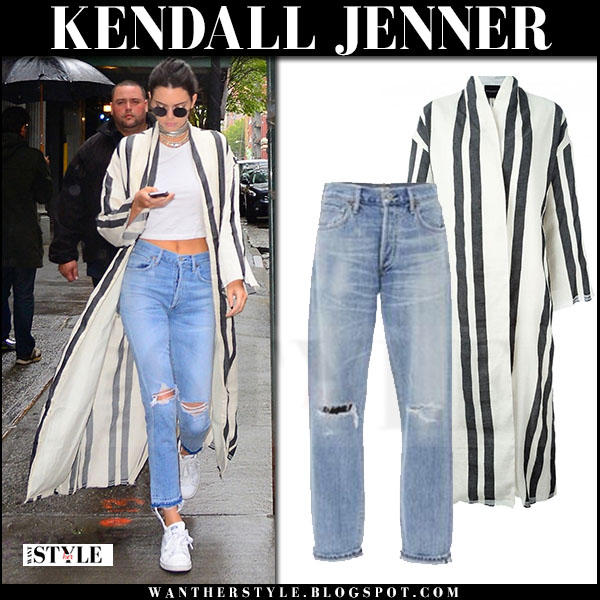 Kendall Jenner in striped duster erika cavallini caban dilip coat and ripped jeans what she wore
