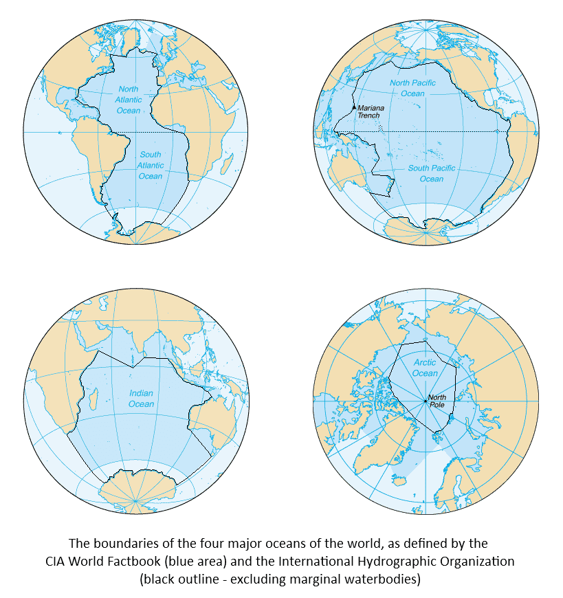 boundaries of the world's oceans