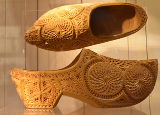 Pair of intricately carved wooden clogs, Zaanse Schans, Zaandam, The Netherlands