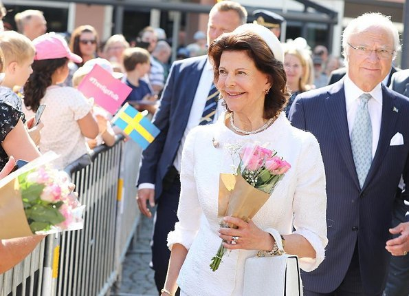 King Carl Gustaf and Queen Silvia take part in National Day celebrations at Gammelgarden in Ludvika