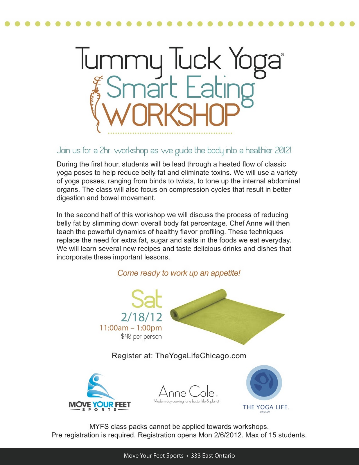 The Yoga Life Chicago: Tummy Tuck Yoga & Smart Eating Workshop