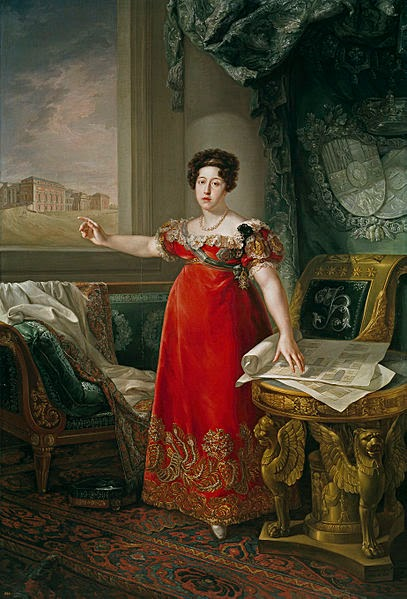 Maria Isabel of Portugal in front of the Prado by Bernardo López y piquer in 1829