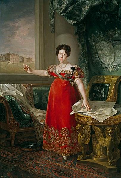 Maria Isabel of Portugal in front of the Prado by Bernardo López y piquer in 1829