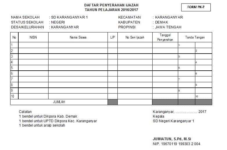 Download Format Pk 7 Daftar Penyerahan Ijazah Sidapodik